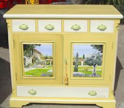 Buffets peints enfilades peintes meubles peints - Meuble de cuisine repeint ...